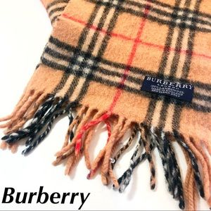 Burberry Lambswool Scarf Check Print Tan Small